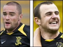Livingston defenders James McPake (left) and Dave Mackay (right)