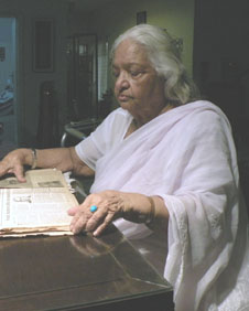Mrs Ruqayya Jafri at her Clifton residence in Karachi, Pakistan