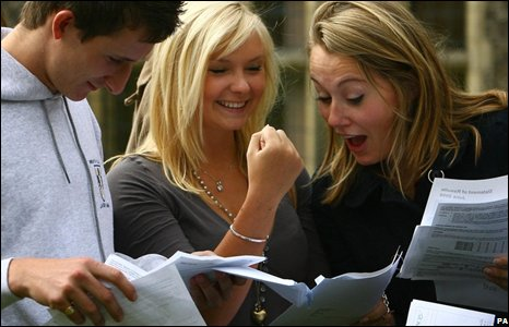 Students celebrate on finding out their exam results. The A-level ...