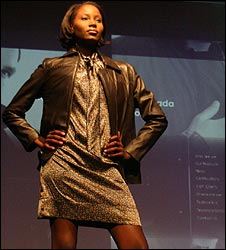 South African model wearing a bullet-proof jacket at the Johannesburg launch [Photo courtsey of Daily Telegraph UK]