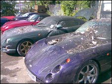 Some of the damaged cars