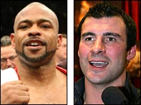 Joe Calzaghe (right) and Roy Jones Jr