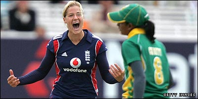 Katherine Brunt takes a wicket against South Africa
