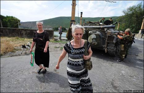 Residents and Russian army in Gori
