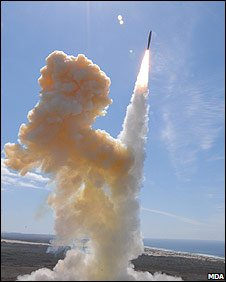 A ground-based interceptor is test launched in California (Image: Missile Defense Agency)