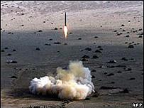 Prueba del misile iraní Shahab-2 en noviembre de 2006