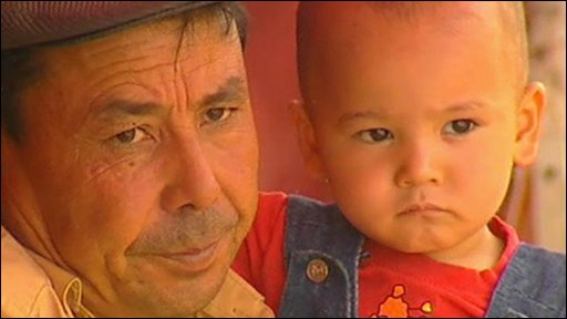 Man and young child