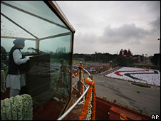 Manmohan Singh delivering his Independence Day speech on 15 August 2008