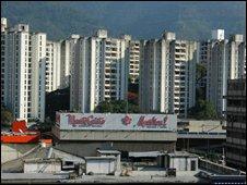 Skyline of modern tower blocks in Caracas, Venezuela, 19 Feb, 2008
