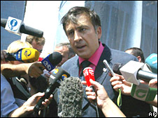 Georgian President Mikhail Saakashvili in Tbilisi on 13 August 2008