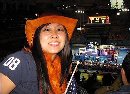 Frances Chen sent us this photo of her attending the Olympics boxing
