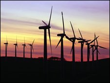 Wind farm at twilight