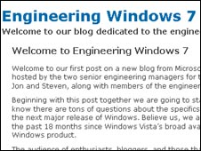 Screen of Windows 7 blog, Microsoft