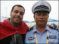 Robert Scales with Beijing policeman