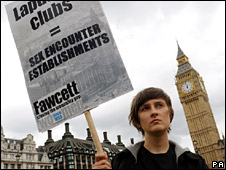 Fawcett Society campaigner outside Parliament