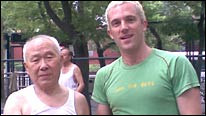 How did BBC reporter Tom Fordyce (right) fare against 84-year-old Beijng street table tennis champion