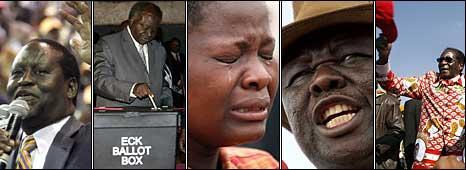 Raila Odinga (AFP), Mwai Kibaki (AFP), a Zimbabwean mourner (Getty), Morgan Tsvangirai (AFP), Robert Mugabe (AFP)