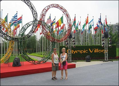 Karen Griffiths outside the Olympic Village