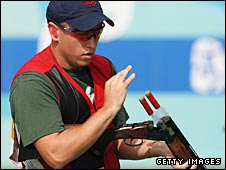 Skeet champion Vincent Hancock of the United States shortly after shooting in Beijing