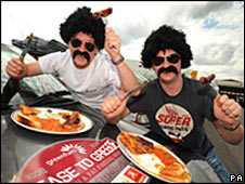 Brothers Andy (left) and Adrian Henson before the Grease to Greece rally