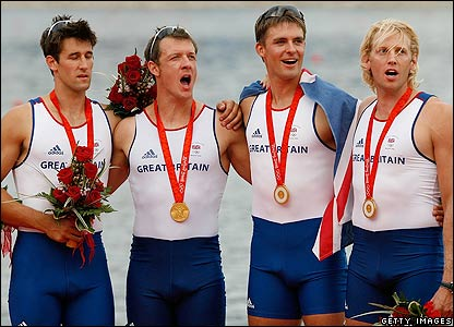 Tom James claims gold in the coxless fours rowing