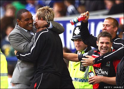 Paul Ince and the Blackburn bench celebrate