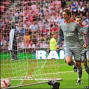 Fernando Torres celebrates his goal for Liverpool