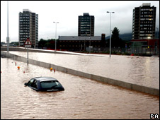 Motorist caught in severe floods