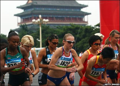 Start of the women's marathon