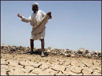 Hombre sobre campos secos en Irak