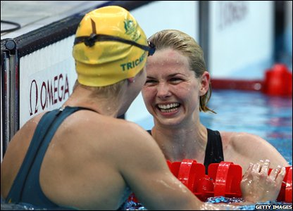 Britta Steffan of Germany is congratulated by Libby Trickett of Australia
