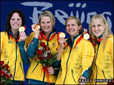 Emily Seebohm, Leisel Jones, Libby Trickett and Jessicah Schipper celebrate