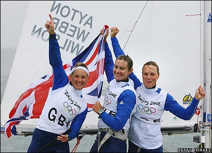 Sarah Ayton, Sarah Webb and Pippa Wilson celebrate gold