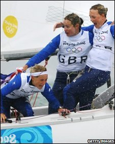 GB Yngling crew celebrate their win