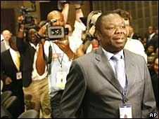 Zimbabwean opposition leader Morgan Tsvangirai arrives at the Southern African Development Community (SADC) opening ceremony in Sandton, South Africa on Saturday