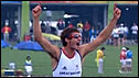 Zac Purchase celebrates after winning gold with Mark Hunter