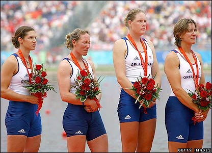 Annie Vernon, Debbie Flood, Frances Houghton and Katherine Grainger with their medals