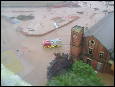Flooding on the Westlink taken from Grosvenor tower (picture by Ruba Awawdeh)