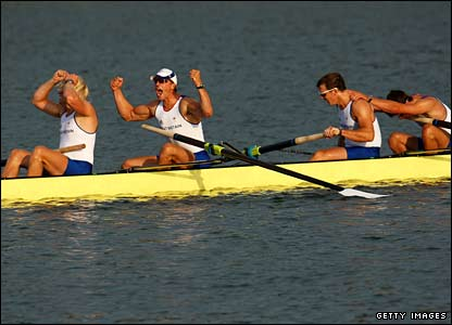 Team GB's coxless fours with Wales' Tom James celebrate gold
