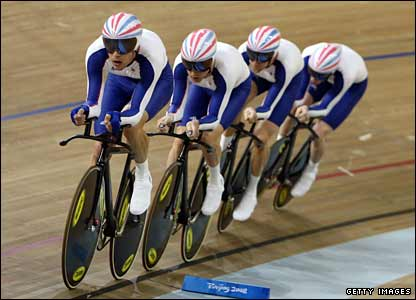 Geraint Thomas and the men's cycling pursuit team