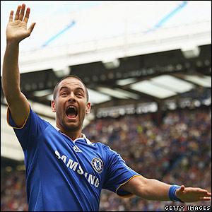 Cole celebrates Chelsea's first goal of the season