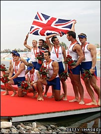 The GB eight-man crew celebrate their Olympic silver