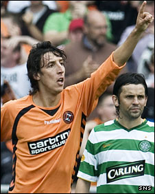 Francisco Sandaza celebrates his goal against Celtic