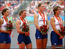 Katherine Grainger (left) with Annie Vernon, Debbie Flood and Frances Houghton