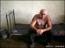 Georgian man in a a refugee shelter in Tbilisi