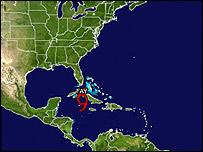 Fay en su paso por Cuba el 17 de agosto (Foto: gentileza del NHC)
