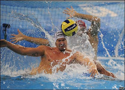 Water polo action from the Yingdong Natatorium
