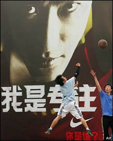 Liu's face is all over advertising billboards across China