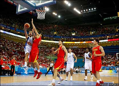 Action from the Olympic Basketball Arena