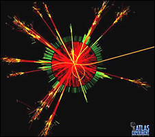 How a black hole might look if it is generated in the collider (Atlas)